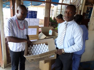 CHASL Procurement Assistant Making Drugs donated by CHASL with Support from BMZ/DKH to the weslyean health Cernter