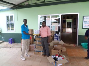 CHASL Pharmacist Making Drugs donated by CHASL with Support from BMZ/DKH to St John of God Hospital